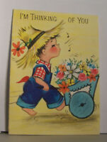 Vintage Greeting Card Hallmark Because I'm Thinkig Of You Now Flower Wheel Barro