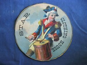 Victorian Trade Card Star Clothing House Revolutionary Soldier Colonial Drum 5A