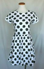 080d6895df36 Topshop Knit Dress 6 White Black Polka Dot Fit Flare Short Sleeve Cotton T19