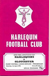 HARLEQUINS v GLOUCESTER RUGBY UNION JPCUP S-F PROGRAMME (VG-VG+)  1 APRIL 1978