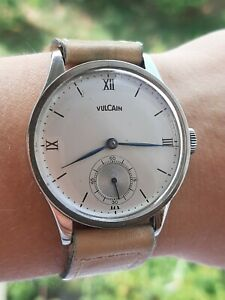 VULCAIN MILITARY WATCH MANUAL 15 JEWELS MENS 35.5mm SWISS MADE JUST SERVICED