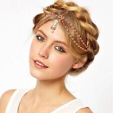 Boho Pearl Gold Wedding Headdress Headband Head Band Crown Chain Headpiece