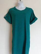 New Woman Within  Cotton Jersey S/S  A- Line Tee Shirt Dress Teal Green S 12W