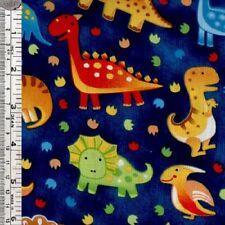 Dinosaurs on blue childrens quilting fabric - per 1/2 METRE