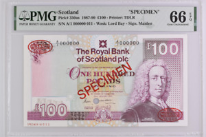 SCOTLAND P# 350as 1990 100 POUNDS PMG 66 EPQ GEM UNC TOP POP