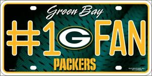 Green Bay Packers #1 Fan Metal Embossed License Plate NFL Officially Licensed