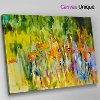 AB1612 Orange Green Modern Paint Abstract Wall Art Picture Large Canvas Print