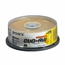25 Sony DVD+RW 4.7GB 120Min (4x) DVD Rewritable Video Data DVDRW spindle