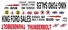 King Ford Sales 1964 Thunderbolt 1/64th HO Scale Slot Car Decals Drag NHRA