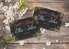 10 Personalised Wedding Vintage Save The Date Magnets with envelopes