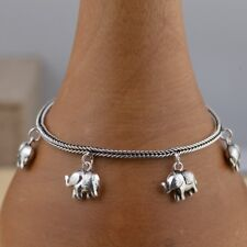 925 Sterling Silver elephant bangle bracelet cuff jewelry P1407