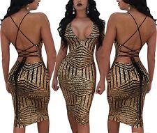 Abito Aperto Scollo Aderente Pailette Cerimonia Ballo Festa Party Sequin Dress M