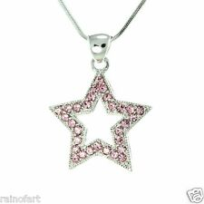 "Star W Swarovski Crystal Wish Star New Pink Pendant Necklace 18"" Chain Gift"