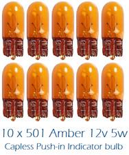 Ámbar de 10 X 501 501 A 12 V 5 W Alta Calidad indicador SIDELIGHTS Sin Tapa Cuña Bombillas