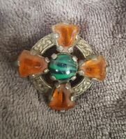 VINTAGE Miracle Scottish Celtic Brooch Amber green Glass banded Stones