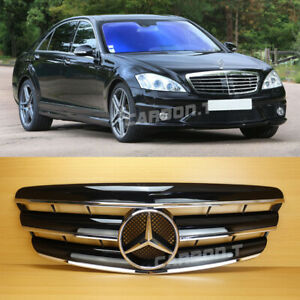 Gloss Black Grille For Mercedes-Benz S-Class S350 S550 S63 AMG W221 2007-09 3Fin