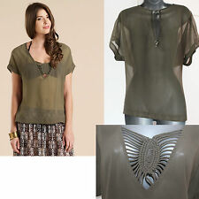 MONSOON Green Khaki Maria Macrame Summer Beach Kaftan Top UK10  12 M RRP £29