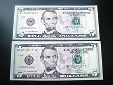 (2) $5 2013 ((( ML CON#))) FEDERAL RESERVE CHOICE UNC GEM BU NOTE