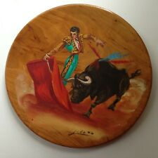 Vtg SPAIN Original Oil Painting Bullfight, Bull Matador Spain  Wood Plate signed