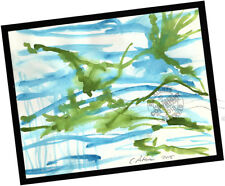 Frogs Dance in Pond 2015 Contemporary Art Abstract PAINTING SIGNED water weeds