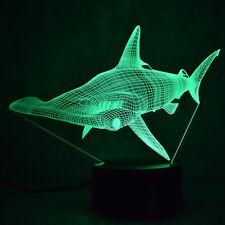 HAMMERHEAD SHARK 3D Acrylic LED 7 Colour Night Light Touch Table Lamp Kids Gift