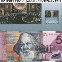 Australian Centenary Federation SET $5 AA01 Polymer + Commemorative Stamp Sheet