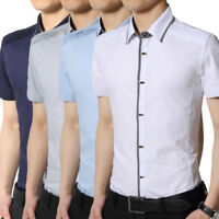 Fashion Men's Slim Fit Casual Shirts Short Sleeve Solid Shirt Cotton Dress Tops