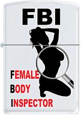Fbi Femelle Corps Inspecteur Sexy Femme Pinup Silhouette Blanc Mat Briquet Zippo