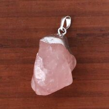 1Pcs Silver Plated Rose Quartz Crystal Stone Random Form Beads Pendant Jewelry