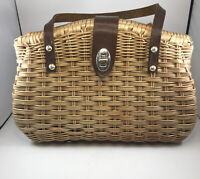 "Vtg 1960's Straw Rattan Purse with Leather Trim Handles Locket Closure 11"" X 7"""
