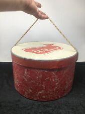 Vintage Red Marble Pattern Hatbox Wethern's Storage