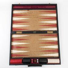 Vtg TOPAZ Backgammon Travel Board Game Set Oversized Red/White Bakelite Cork