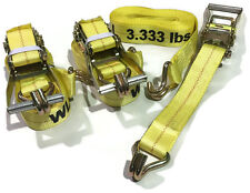 "3 Piece Set 15 FT Heavy Duty 2"" Ratchet Tie Down Strap 10000 Lbs J Hook Cargo"