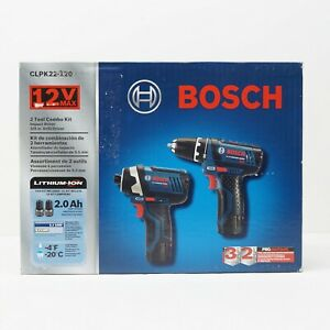 Bosch CLPK22-120 12V Drill/Driver & Impact Kit w/ 2 Batteries, Charger & Case