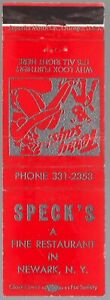 SPECK'S RESTAURANT NEWARK NY 20 FS MATCHBOOK COVER GIRLIE