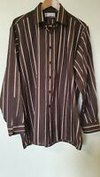 """Vintage 70s Double Two Brown Striped Shirt 17"""" Collar Size XL"""