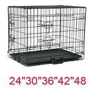 20 48 Dog Crate Kennel Folding Metal Pet Cage 1-2 Door Indoor Outdoor Black