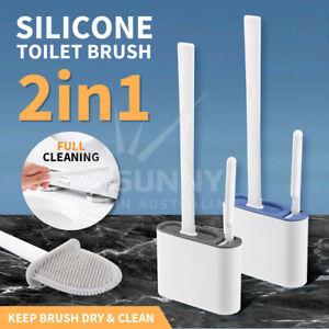 2in1 Bathroom Silicone Bristles Toilet Brush Holder Creative Cleaning Brush Set