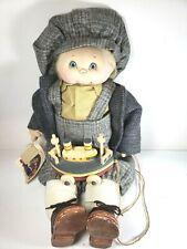 """Jan Shackelford Ooak 21"""" Blond Boy Doll w/ Wooden Boat Pull Toy Sneakers & Lace"""