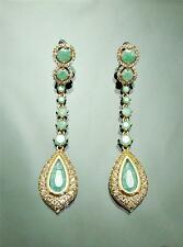 "Vintage Premium Ice Jade Green Cubic Zirconia Gold GP Drop earrings 3""=7.5cm L"