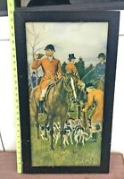 Fox Hunting Fox Hounds Themed Vintage Collectible Framed Print