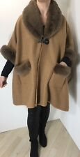 Cape Poncho Tan Luxurious Faux Fur Collar Cuffs & Pockets Plus Size 20-24 NEW