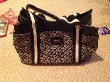 TOMMY HILFIGER BLACK & CREAM HANDBAG