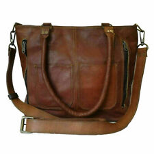 Handmade Vintage Goat Leather Tote Handbag Women's Shoulder Cross body Purse Bag