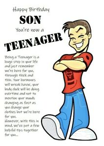 Happy Birthday Teenage Son Humorous Funny Birthday Card Teenager 13th