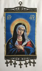 Holy Mother of God, Blessed Virgin Mary, Big Tapestry Wall Hanging w Crosses