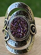 PZ Israel Purple Druzy Hammered Sterling Silver Ring Size 7