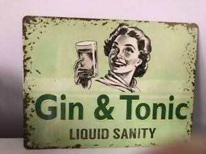 Small Shabby Vintage Style Metal Gin and Tonic Liquid Sanity