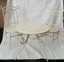 Vintage Doll Sized Bistro Table & 2 Chairs Set Metal - Shabby Chic / Diner
