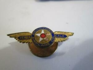 1928 Crawford Airplane Co Venice National Air Race Los Angeles CA Wings Hat PIn